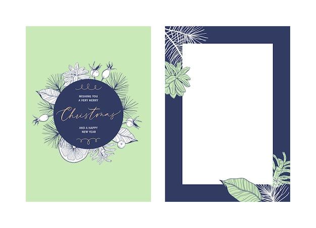 Plantilla de tarjeta de felicitación floral navideña con caligrafía manuscrita
