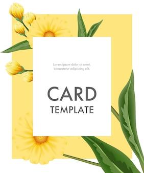 Plantilla de tarjeta de felicitación con flores amarillas en marco blanco sobre fondo amarillo.