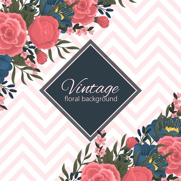 Plantilla de tarjeta de felicitación con fondo floral