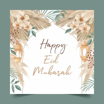 Plantilla de tarjeta de felicitación happy eid mubarak decorada con linterna, hojas de palma, hierba de pampa y orquídea