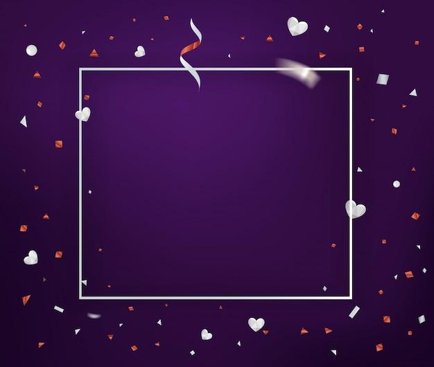 Plantilla de tarjeta de felicitación horizontal de vector con marco blanco y confeti y corazones