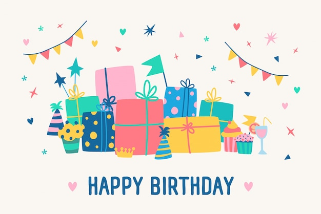 Plantilla de tarjeta de felicitación con inscripción de feliz cumpleaños y pila de cajas de regalo