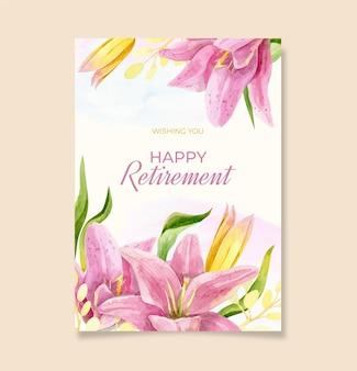 Plantilla de tarjeta de felicitación de jubilación en acuarela pintada a mano
