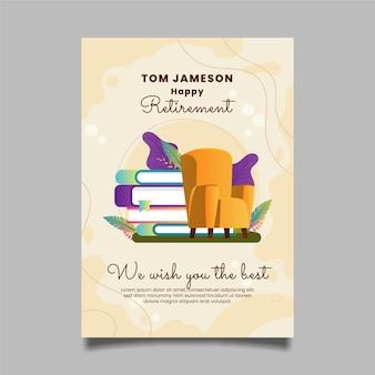 Plantilla de tarjeta de felicitación de jubilación degradada ilustrada