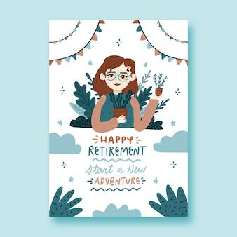 Plantilla de tarjeta de felicitación de jubilación dibujada a mano ilustrada