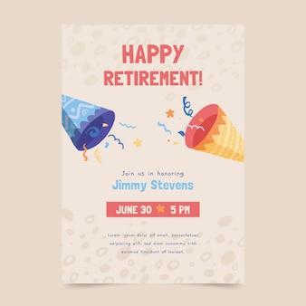 Plantilla de tarjeta de felicitación de jubilación dibujada a mano