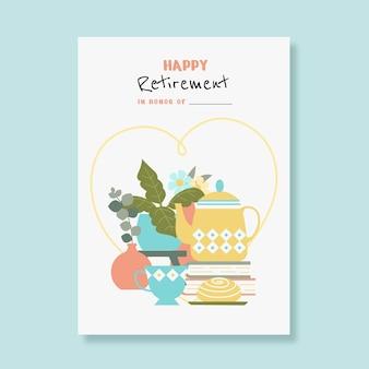 Plantilla de tarjeta de felicitación de jubilación plana creativa