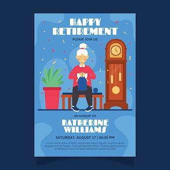 Plantilla de tarjeta de felicitación de jubilación plana ilustrada