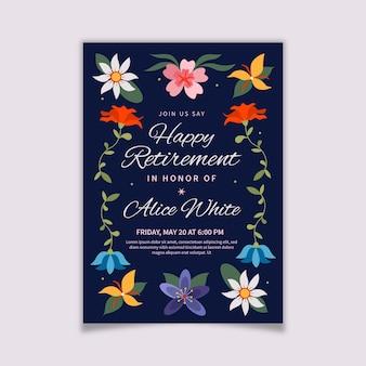 Plantilla de tarjeta de felicitación de jubilación plana orgánica