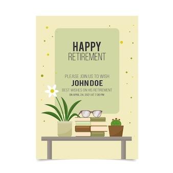 Plantilla de tarjeta de felicitación de jubilación plana