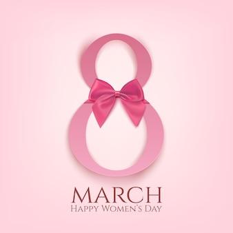 Plantilla de tarjeta de felicitación de marzo con lazo rosa. día internacional de la mujer