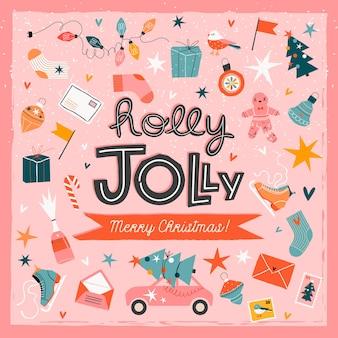 Plantilla de tarjeta de felicitación de moda de navidad rosa holly jolly.