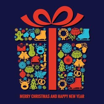 Plantilla de tarjeta de felicitación de navidad y año nuevo con una selección de coloridos iconos de silueta de temporada dispuestos en forma de caja de regalo de navidad con cinta con texto debajo