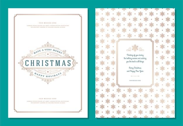 Plantilla de tarjeta de felicitación de navidad con ilustración de etiqueta de decoración. feliz navidad y vacaciones desean texto tipográfico vintage y fondo de patrón.