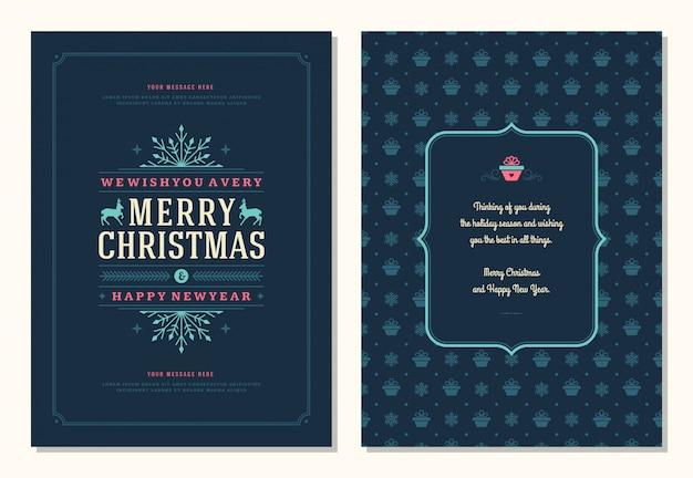 Plantilla de tarjeta de felicitación de navidad con ilustración de etiqueta de decoración.