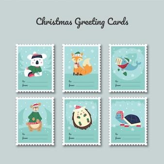 Plantilla de tarjeta de felicitación de navidad con personajes lindos