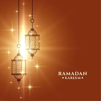 Plantilla de tarjeta de felicitación de ramadan kareem brillante
