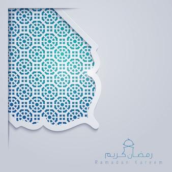Plantilla de tarjeta de felicitación de ramadán kareem con patrón de marruecos