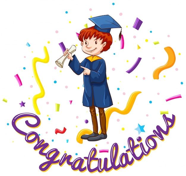 Plantilla de la tarjeta de felicitaciones con el hombre en el vestido de graduación