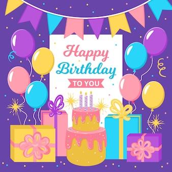 Plantilla de tarjeta de feliz cumpleaños con globos