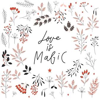 Plantilla de tarjeta de feliz día de san valentín con flores ramas hojas marco y amor