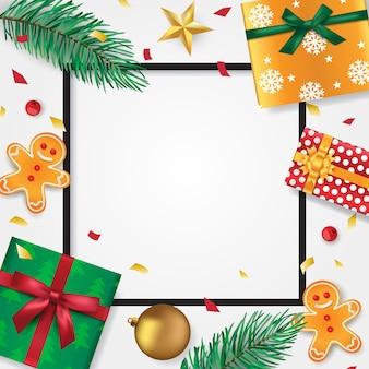 Plantilla de tarjeta de feliz navidad y año nuevo con hojas de pino, estrella, hombre de jengibre, regalos, chuchería y cerezas de navidad,