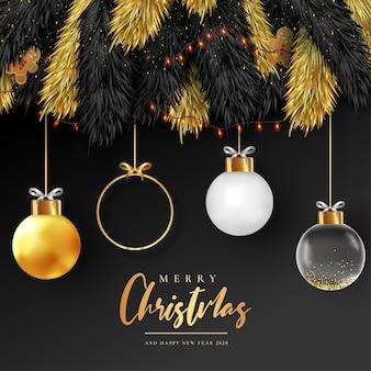 Plantilla de tarjeta de feliz navidad realista con bolas doradas