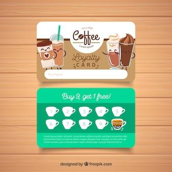 Plantilla de tarjeta de fidelidad con concepto cafeteria