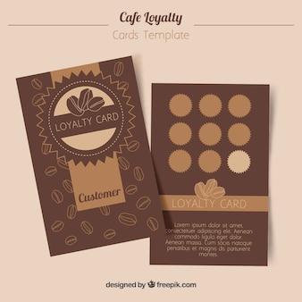 Plantilla de tarjeta de fidelidad con cupones para café