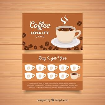 Plantilla de tarjeta de fidelidad con cupones de café
