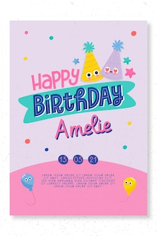 Plantilla de tarjeta de fiesta de cumpleaños infantil