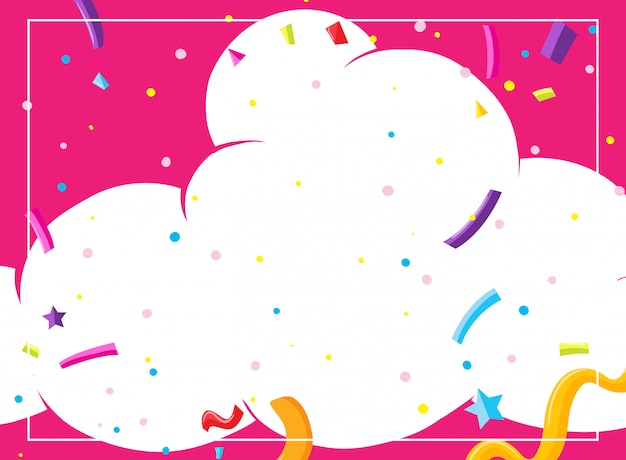 Una plantilla de tarjeta de fiesta rosa nube