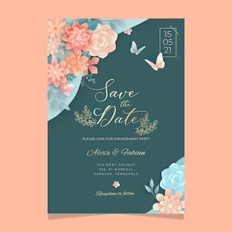 Plantilla de tarjeta floral para boda