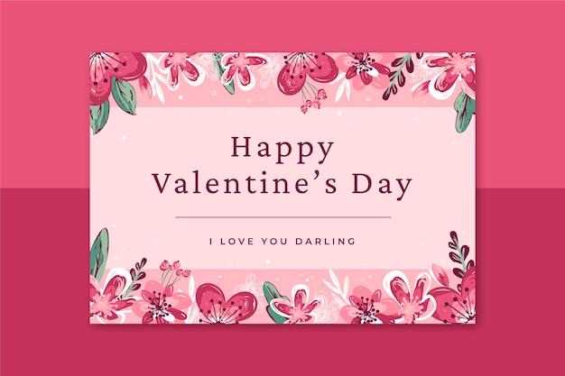Plantilla de tarjeta floral del día de san valentín