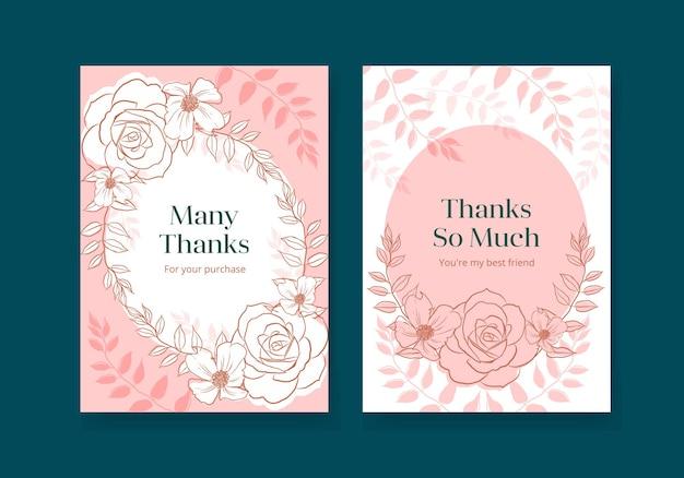Plantilla de tarjeta floral con ilustración de acuarela de diseño de concepto de arte de línea de primavera