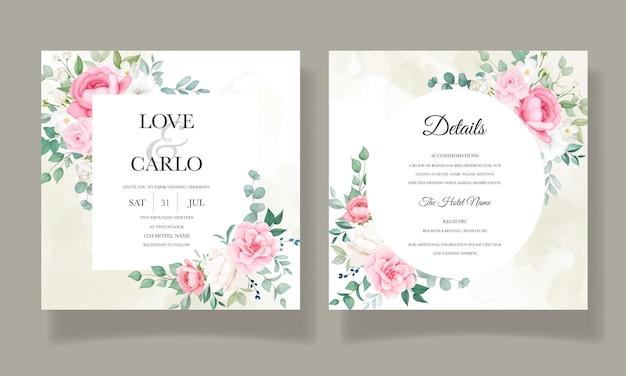 Plantilla de tarjeta floral de invitación de boda romántica
