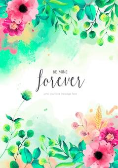 Plantilla de tarjeta floral con mensaje de amor