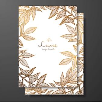 Plantilla de tarjeta floral oro con hojas de peonía.