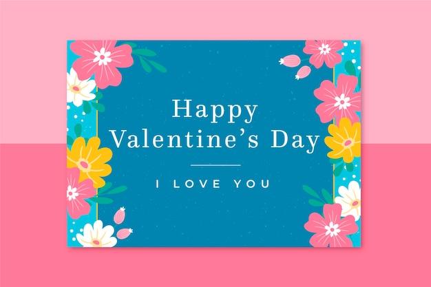 Plantilla de tarjeta floral de san valentín
