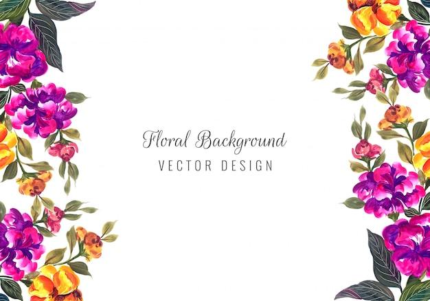 Plantilla de tarjeta de flores coloridas decorativas abstractas