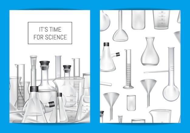 Plantilla de tarjeta, folleto o folleto para laboratorio químico o clases de química con tubos de vidrio y lugar para texto