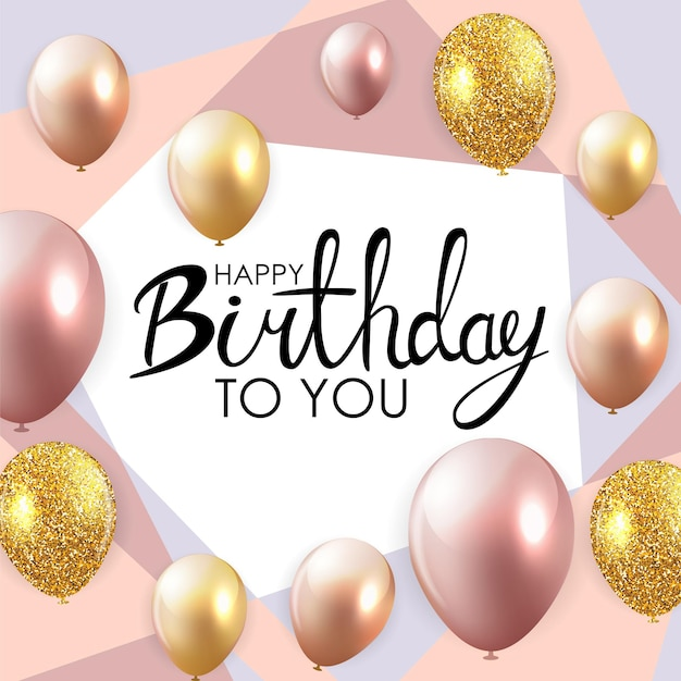 Plantilla de tarjeta de fondo abstracto feliz cumpleaños globo ilustración vectorial eps10