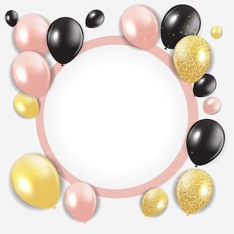 Plantilla de tarjeta de fondo abstracto feliz cumpleaños con globos