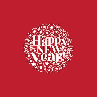 Plantilla de tarjeta de forma de círculo de letras de texto de feliz año nuevo
