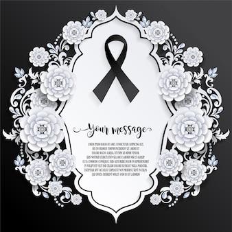 Plantilla de tarjeta de funeral con signo de cinta