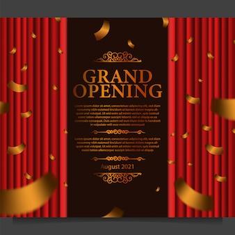 Plantilla de tarjeta de gran apertura con ilustración de seda cortina roja