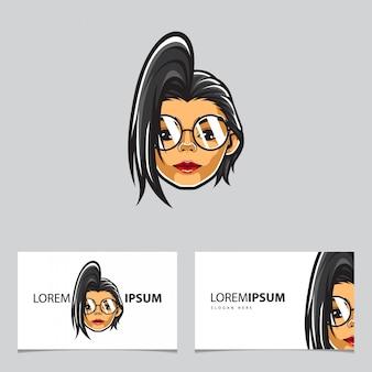 Plantilla de tarjeta hipster girl head
