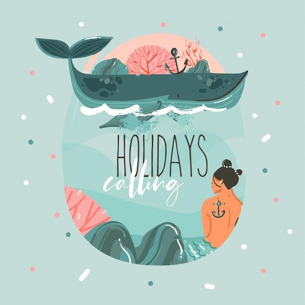 Plantilla de tarjeta de horario de verano de dibujos animados dibujados a mano con sirena y ballena en agua azul del océano y cita de tipografía aislada