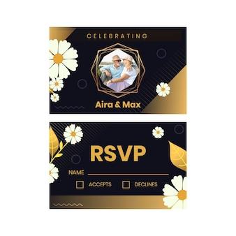 Plantilla de tarjeta horizontal para aniversario de veinticinco años con flores.
