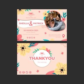 Plantilla de tarjeta horizontal de boda floral